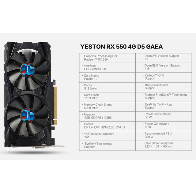 Yeston Radeon RX 550 GPU 4GB GDDR5 128bit Gaming Desktop computer PC Video Graphics Cards support PCI-E 3.0 1