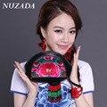 Brands NUZADA Women Girls Ladies Bag Wallets Wristlets clutch bags Coin Purse Money Bag Genuine Leather embroidery lqq-001