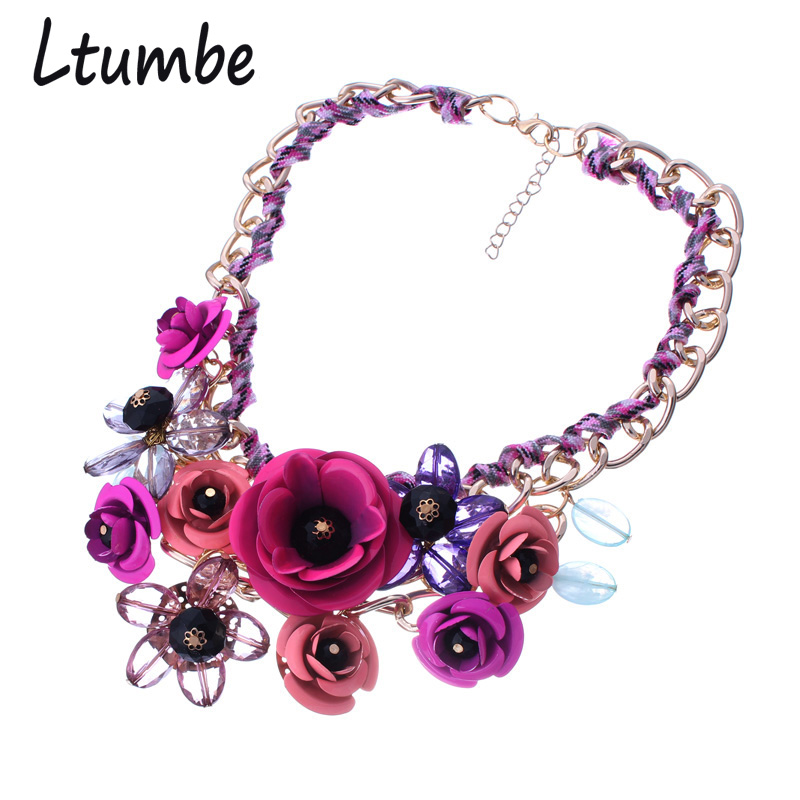 Ltumbe New Statement Maxi Jewelry Gold Color Cloth Braided Chunky Chain Necklaces Crystal Big Flowers Choker Necklaces For Women