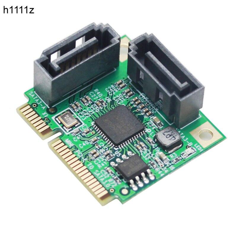 Mini PCI-Express SATAIII 3,0 6 Gbps ASM1061 controlador de tarjeta de Mini PCIE 2-Puerto SATA 3,0 tarjeta de expansión adaptador de Adaptador para HDD