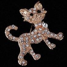 Joyería de moda Broche de Animales de Cristal Lindo Gatos Zorro Broche