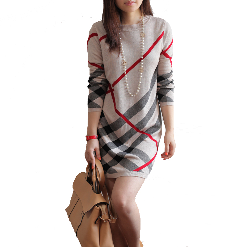 Women Autumn and Winter Cashmere Sweater Dress New 2018 Womens Large Size Long-sleeve Plaid One-piece Warm Knitted Wool Dress
