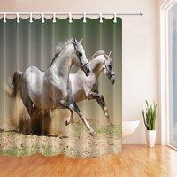 Digital Printing Animals Decor White Horses Running in the Dust Shower Curtain, Mildew Resistant Waterproof Bathroom