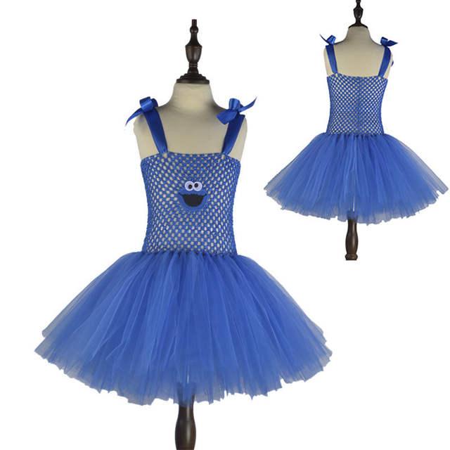 Cute Cartoon Girls Party Dress Baby Kids Cosplay Elmo Tutu Dresses  Christmas Costume Children New Year 3947b40f17f9