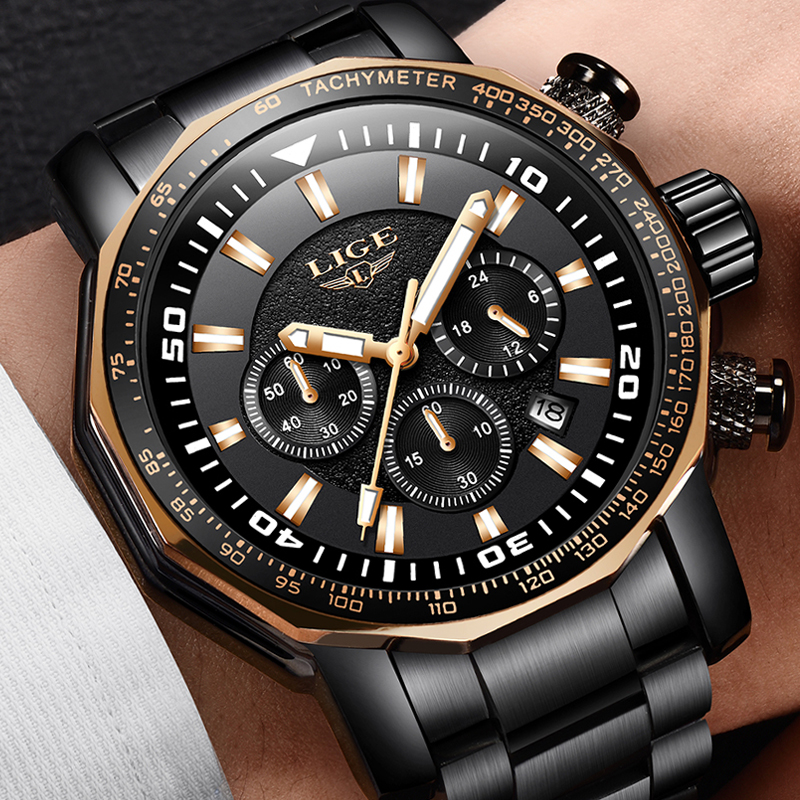 LIGE New Mens Watches Fashion Luxury Top Brand Military Sports Watch Mens Full Steel Waterproof Quartz Clock Relogio Masculino relogio masculino mens watches lige top brand luxury male waterproof military sports watch men stainless steel quartz clock box