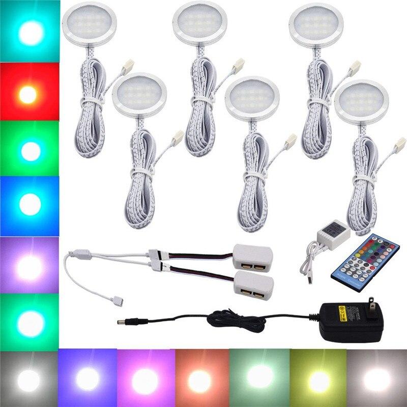 Aiboo RGBW RGB + blanc LED sous la lumière de l'armoire 6 lampes avec télécommande IR Dimmable pour l'éclairage de décoration d'accent de cuisine
