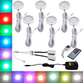 RGBW RGB+White LED Under Cabinet Light 6 Lamps Kit with IR Remote Control Dimmable for Kitchen Accent Decoration Lighting