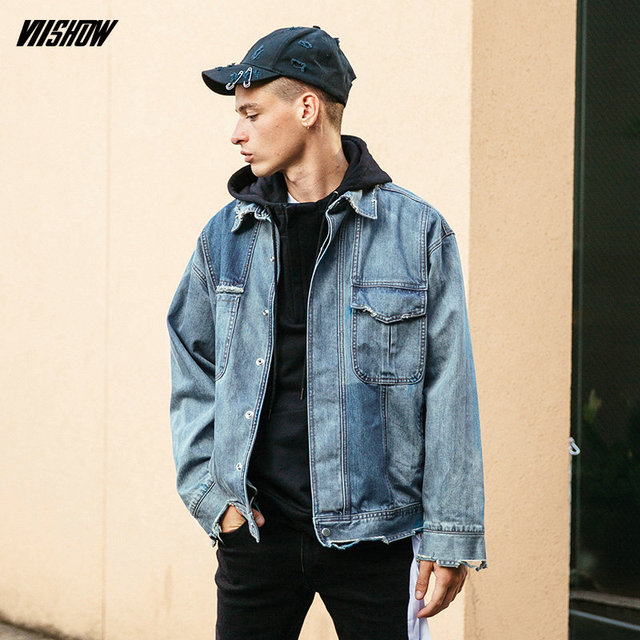 VIISHOW New Denim Jacket Men Fashion Streetwear Jeans Bomber Jacket 100%  Cotton Vestes Hommes Hip