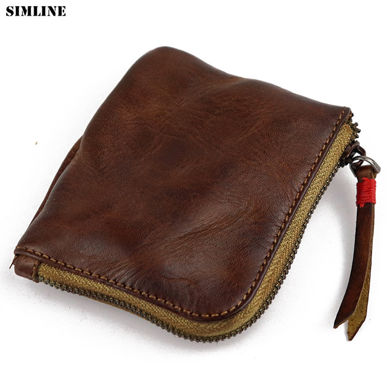 SIMLINE Genuine Leather Coin Purse Women Men Vintage Handmade Small Mini Wallet Card Holder Bag Case Zipper Change Purses Female