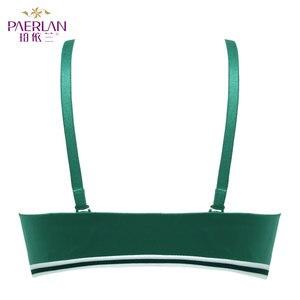 Image 5 - Paerlanシームレスプッシュアップワイヤー送料ストライプ美容バックブラジャー小さな胸ギャザーセクシーなグリーン下着女性