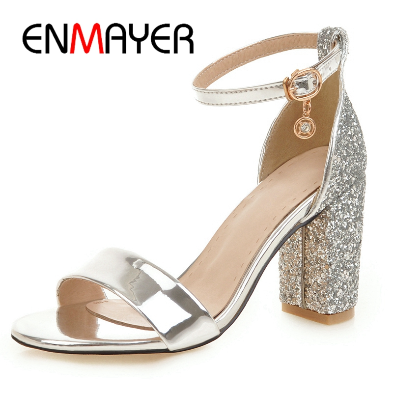 ENMAYER 2019 New Arrival Summer Fashion High Heel Sandals Ankle Strap Sexy Lady Party Dress Sliver Gold Shoes Size 34 43 LY4006 in High Heels from Shoes