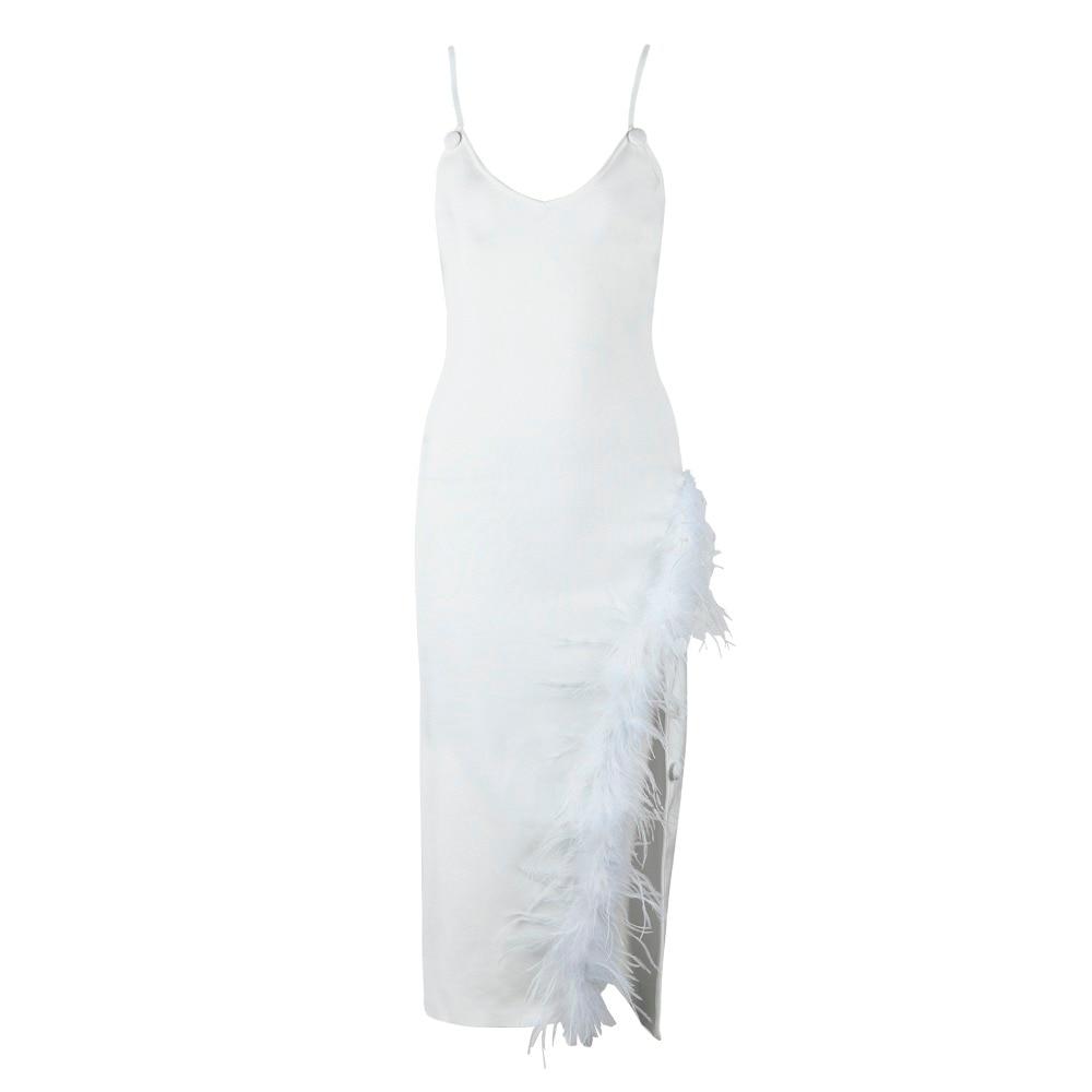 Robes cou Arrivée Femmes Bandage Courroie Sexy Robe De Moulante V D'été Gaine Blanc Celebrity Partie 2018 Plumes Nouvelle tdxhQsCr