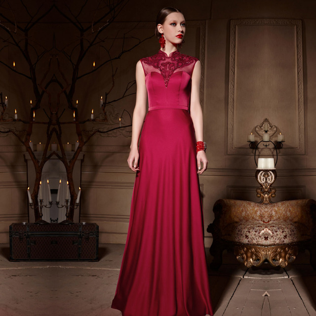 Coniefox 30650 Silk Sleeveless Red Lace Bridal Wedding Reception Dress