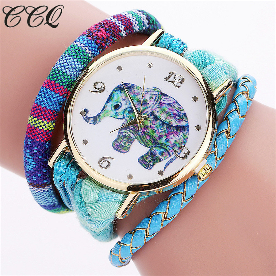CCQ Brand Handmade Braided Women Elephant Wrist Watch Fashion Rope Ladies Quarzt Watches Relogio Feminino 2079