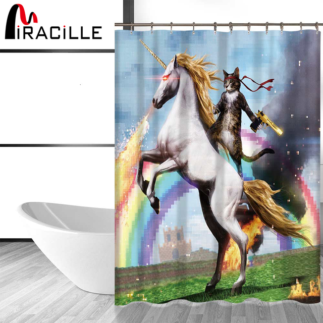Miracille Funny Cat Shower Curtain Printed Waterproof Polyester Bath Bathroom Accessories 180x180cm Curtains Home Decor