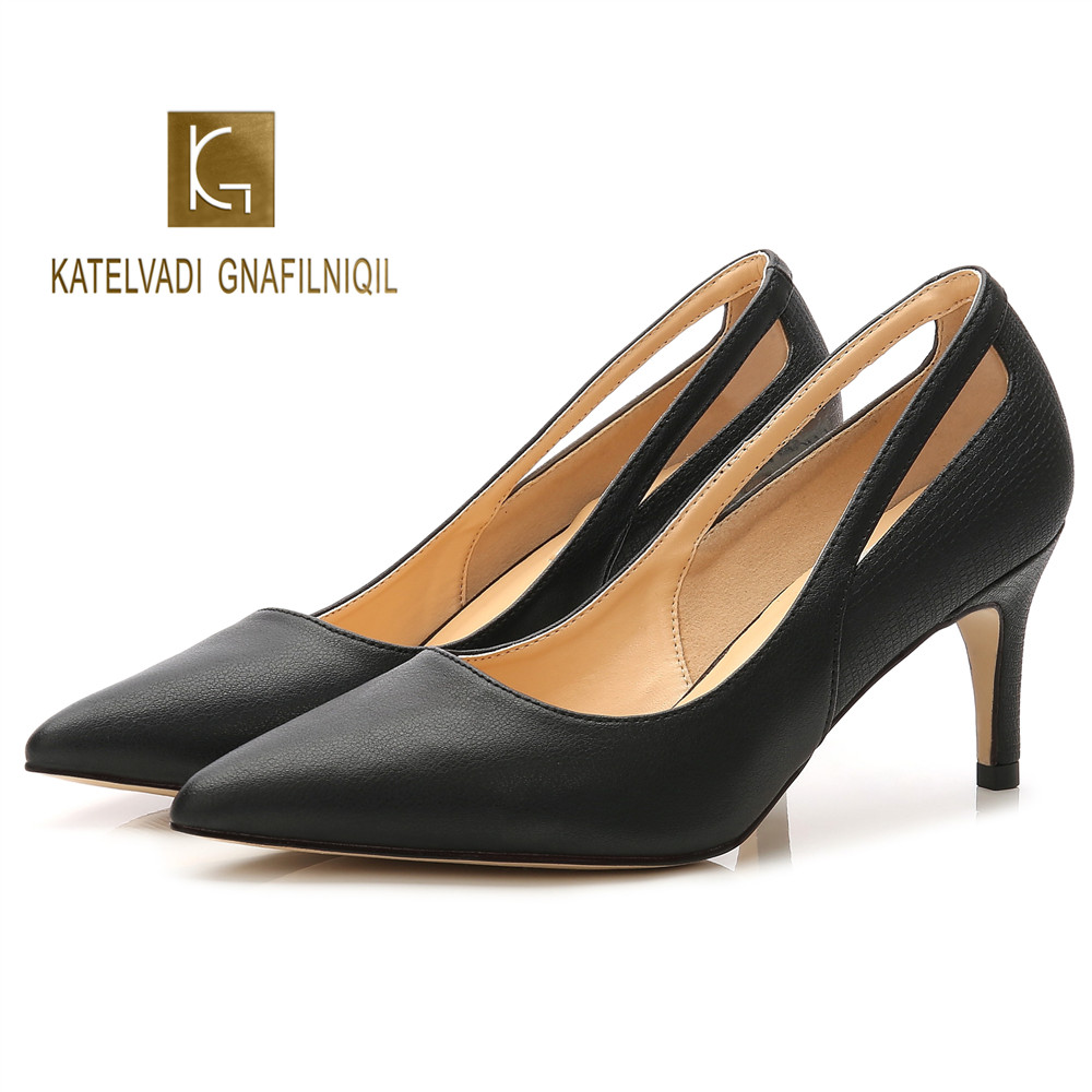 7CM Woman High Heels Pumps Black Microfiber Autumn Female Thin Heel Shoes Slip On Fashion Dress