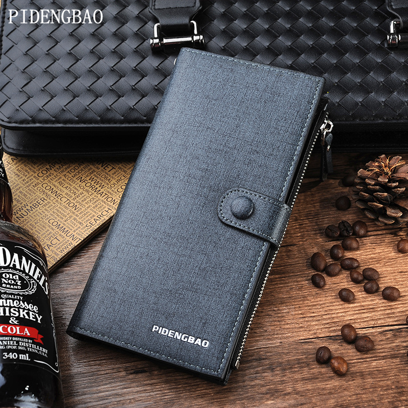 PIDENGBAO Mens PU Leather Wallet Letter brand Small Wallet Zipper Hasp Long Mens Card Holder With Coins In The Pocket Solid