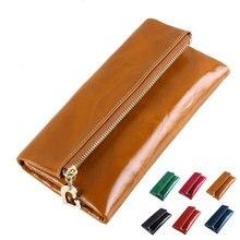 3 Falten 100% Öl Wachs Leder Brieftasche Weibliche Lange Design Echtes Leder Brieftasche Frauen Kreditkarten Geld Geldbörse Reißverschluss Tasche