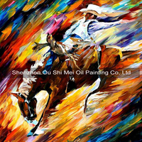 Abstract Painting Riding Horse Cowboy Oil Painting On Canvas Frameless Hand Painted Horse Pictures For Living Room Decoration