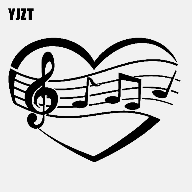 YJZT 13.2CM*9.6CM Lovely Music Notes Heart Love Melody Vinly Black/Silver Car Sticker C22-0602