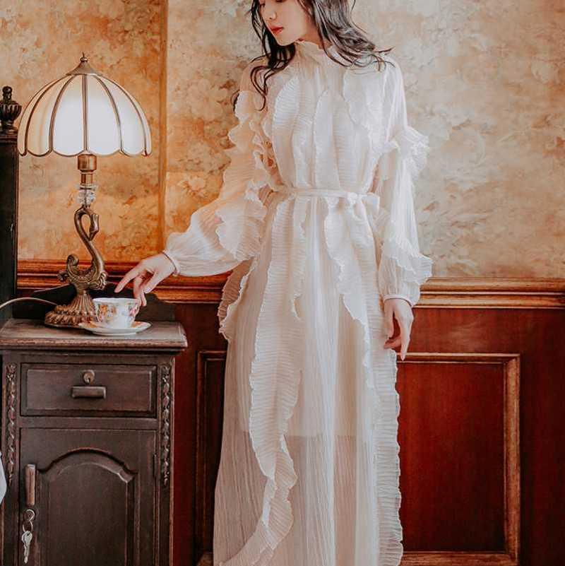 f56d045465ea De la pista vestido 2019 Primavera Verano mujeres elegante largo manga con  volante plisado Maxi ...