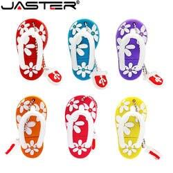 JASTER модные лидер продаж Творческий U диск 2,0 64 Гб 32 16 8 4 Мультфильм Цветок шлёпанцы для женщин реальная емкость USB flash drive