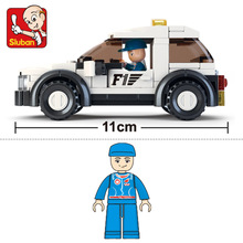 SLuban 0350 96PCS F1 safety car Legoings toys for children educational building blocks 3D DIY Figures Birthday Christmas Gifts