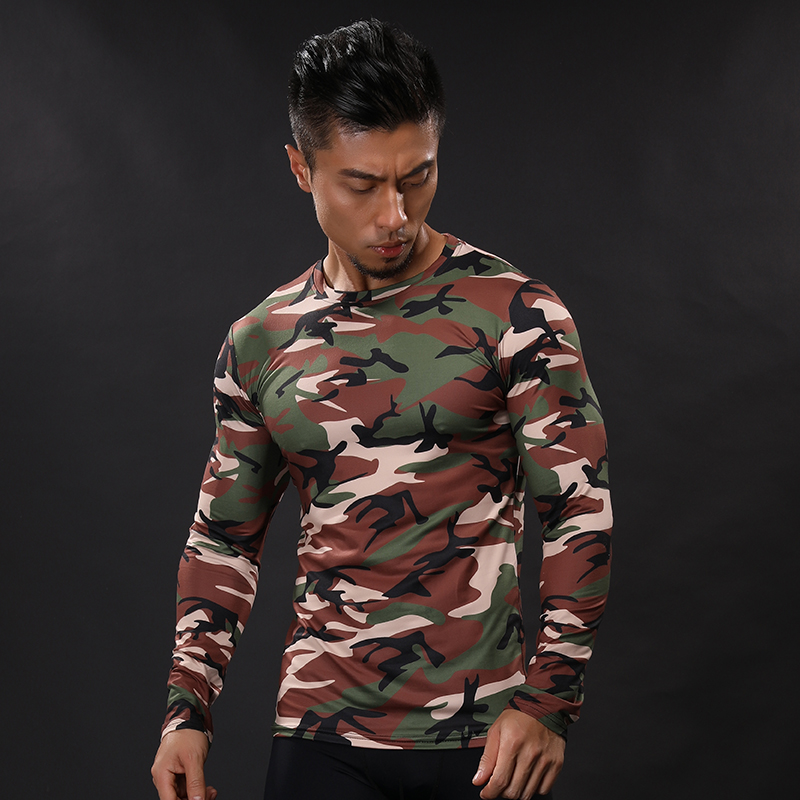 2017 New Men Base Layer Camouflage T Shirt Fitness Tights Quick Dry Camo T Shirts Crossfit