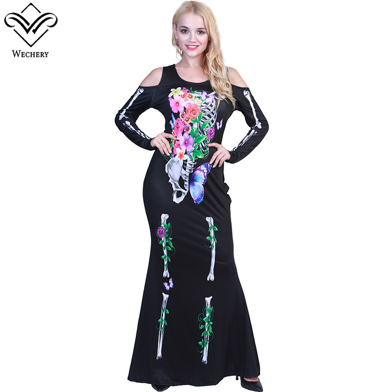Wechery Cut Out Dress Cosplay Costume Flower Skeleton Printed Long Sleeve Dress Sexy Black Slim Party Halloween Dresses