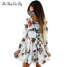 Deruilady Модные Простые Для женщин o Средства ухода за кожей шеи мини-платье с длинным рукавом с цветочным принтом плиссированные платья осень-зима повседневные платья vestidos