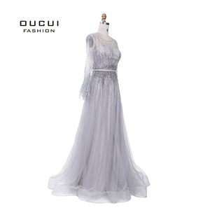 Image 3 - רסיס אפור ארוך שרוולים ערב שמלות ערבית בעבודת יד פניני נוצות אשליה חזרה אופנה Robe דה Soiree 2019 OL103493