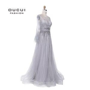Image 3 - Splitter Grau Langen Ärmeln Abendkleider Arabisch Handgemachte Perlen Federn Illusion Zurück Mode Robe De Soiree 2019 OL103493