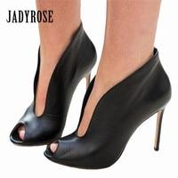Jady Rose Sexy Peep Toe Women Pumps Deep V Front High Heels Slip On Wedding Dress