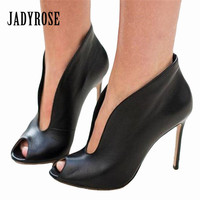Jady Rose Sexy Peep Toe Women Pumps Deep V Front High Heels Slip On Wedding Dress Shoes Woman Ankle Boots Valentine Shoes