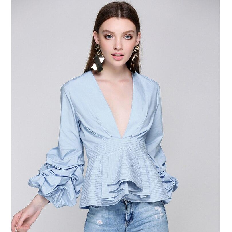8dfb9f1e42bb74 Newest Fashion 2018 Runway Designer Tops Blouse Women s Sexy Deep V Neck  Lantern Sleeve Ruffle Blouse Shirt