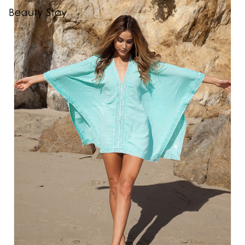 Beautystay Women Lace Collar Sexy Beach Dress Loose Plus Size Cotton - Ropa de mujer - foto 2