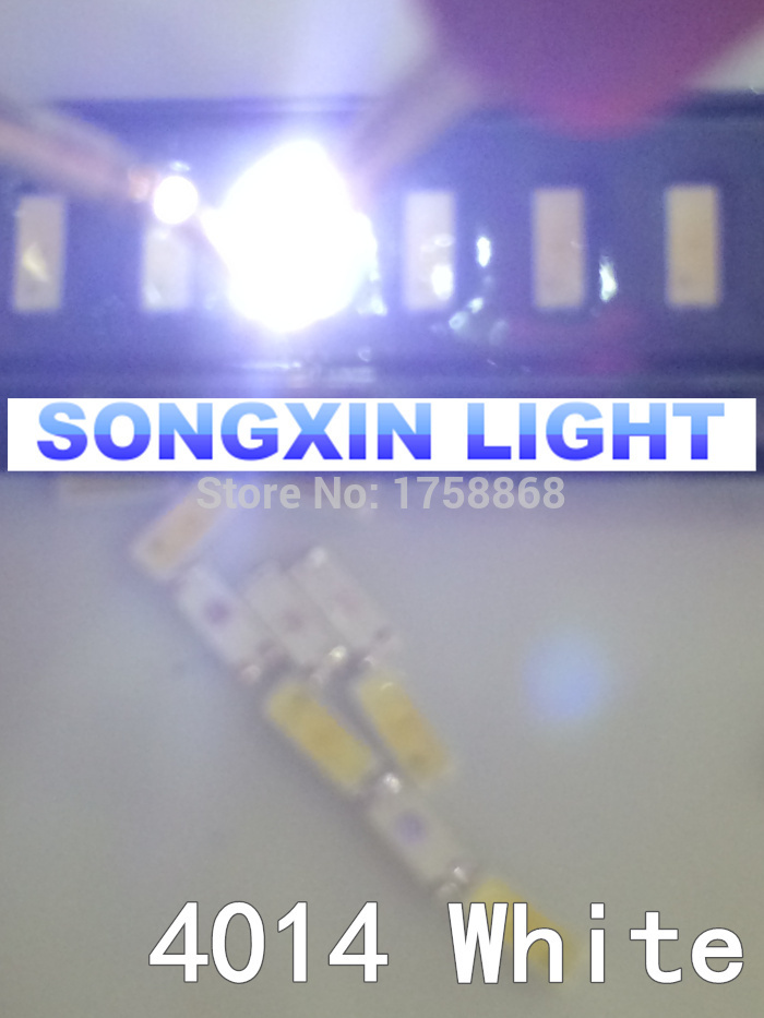 Светодиод EVERLIGHT, 100 шт., Белый SMD 4014 Led, ультра яркий SMD/SMT 4014 светодиод, белый холодный белый 0,2 Вт, светодиодный чип 60ma 15-25lm