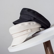 Women's Hat Flat Cap Military Cap Spring Autumn Linen Octagonal Cap Solid Color Flat Top Military Hats Young Student Hat Female