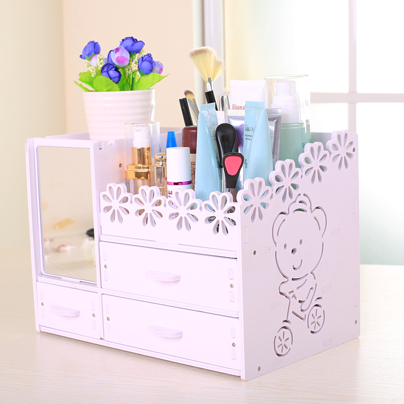 topextra three layers diy cute bear makeup organizer jewelry cosmetic dresser drawer storage box o desk organizer with a mirror - Mirrored Dresser Cheap