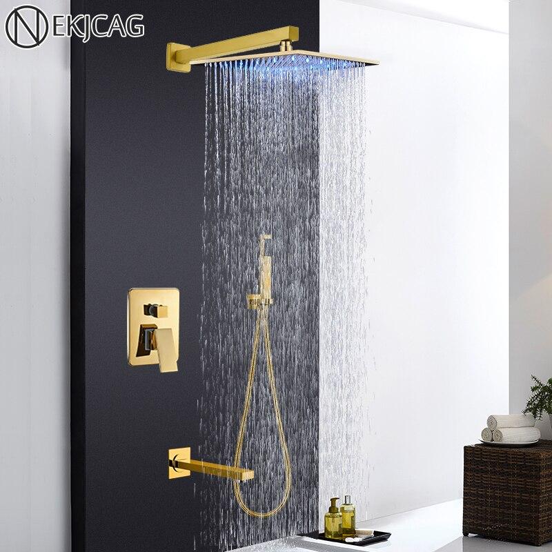 Wall Mounted Concealed Embedded Led Shower Home Shower 10 Inch Gold Shower Set