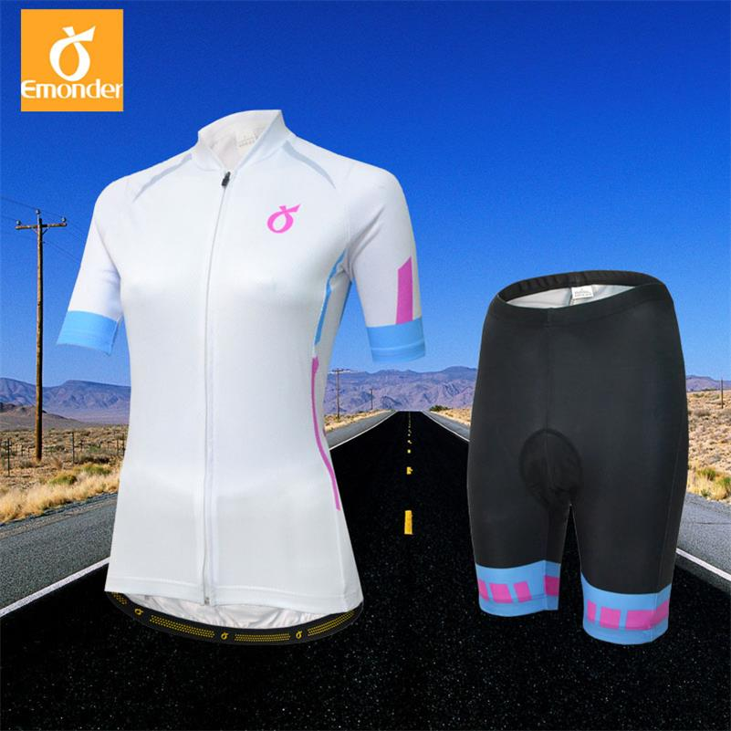 EMONDER Women Cycling Jersey Set Bike Team Cycling Clothes Short Sleeve Full Zipper GEL Breathable Pad Quick Dry bike Clothing
