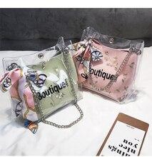 Vintaroco Fashion Summer Clear Bucket Bag Pvc Transparent Women Shoulder Bags Ladies Messenger Shopping Market Tote Handbags