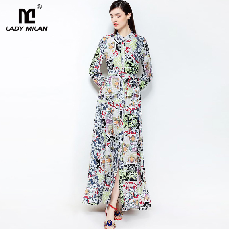 New Arrival 2018 Womens O Neck Long Sleeves Floral Printed Sash Bow Belt Sexy Split Fashion Casual Maxi Dresses