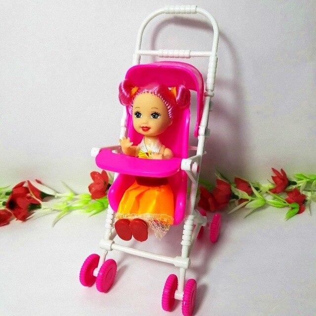Baby Carriage Stroller Aksesoris untuk Barbie Doll House Furniture Mini  Mainan Klasik untuk Kelly boneka Lucu 35f5ce3786
