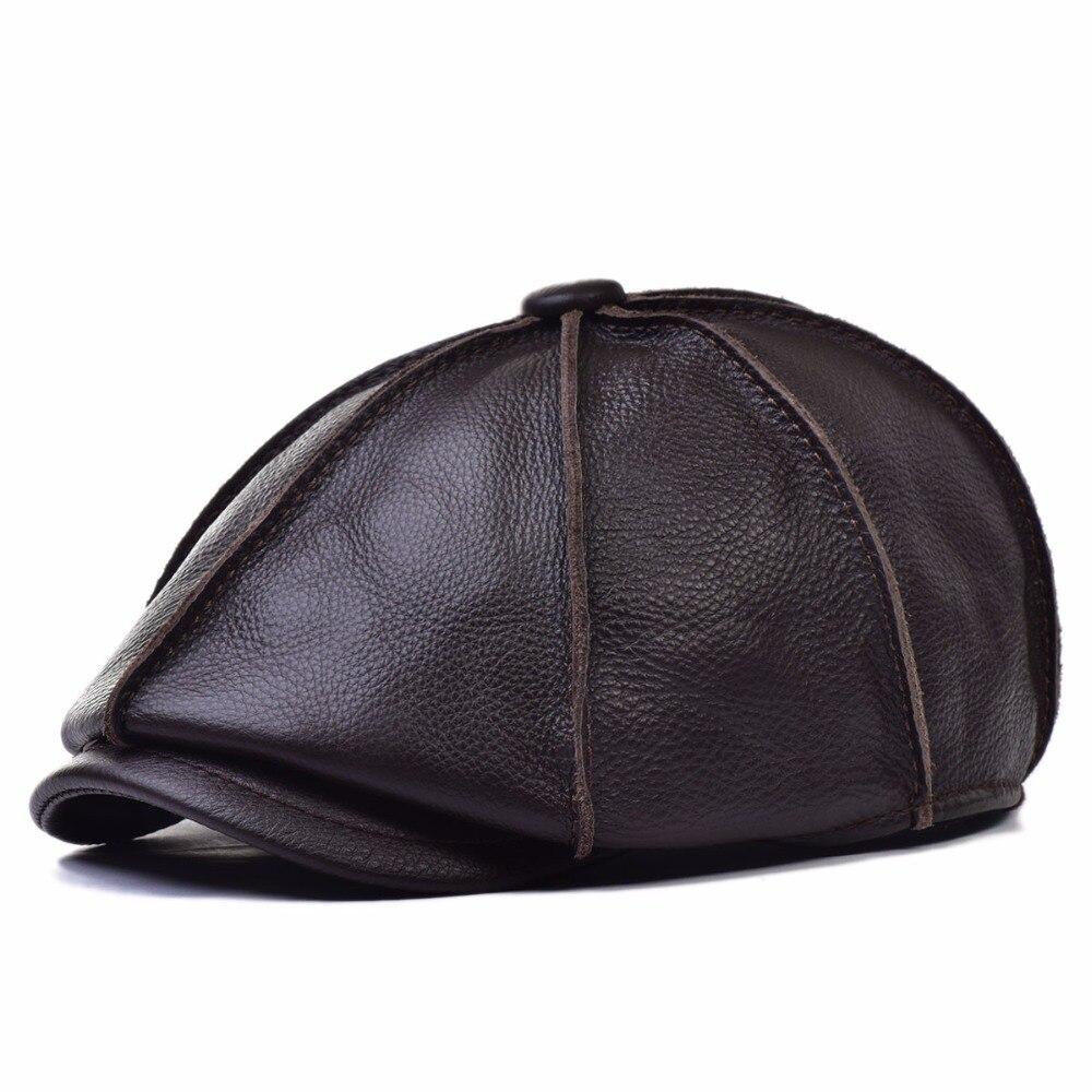 VOBOOM Hiver Chaud Véritable Béret En Cuir Hommes Oreille Protéger Pilote 8 Panneau Gatsby Casquette Plate Gavroche Style Boina Chapeau 322