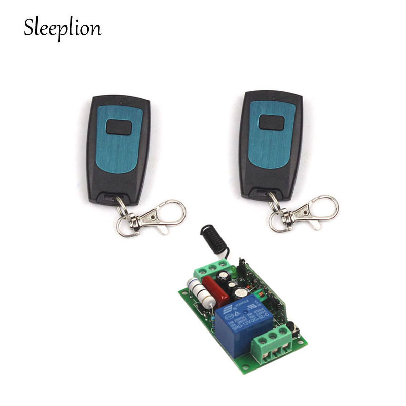 Sleeplion Wireless Remote Control Light Switch 10A Relay Output Radio 110V 1 Channel Receiver Module + 2 Transmitter