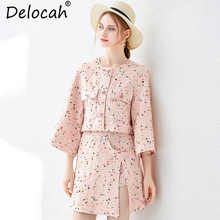 Delocah Women Autumn Winter Suits Runway Fashion Vintage Elegant Pocket Jackets and Office Ladies Skirts Two Pieces Set 2019