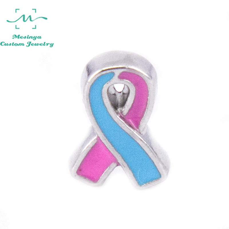 10pcs Pregnancy/Infancy Loss Ribbon awareness floating charms for glass locket FC--,Min amount $15 per order mixed items