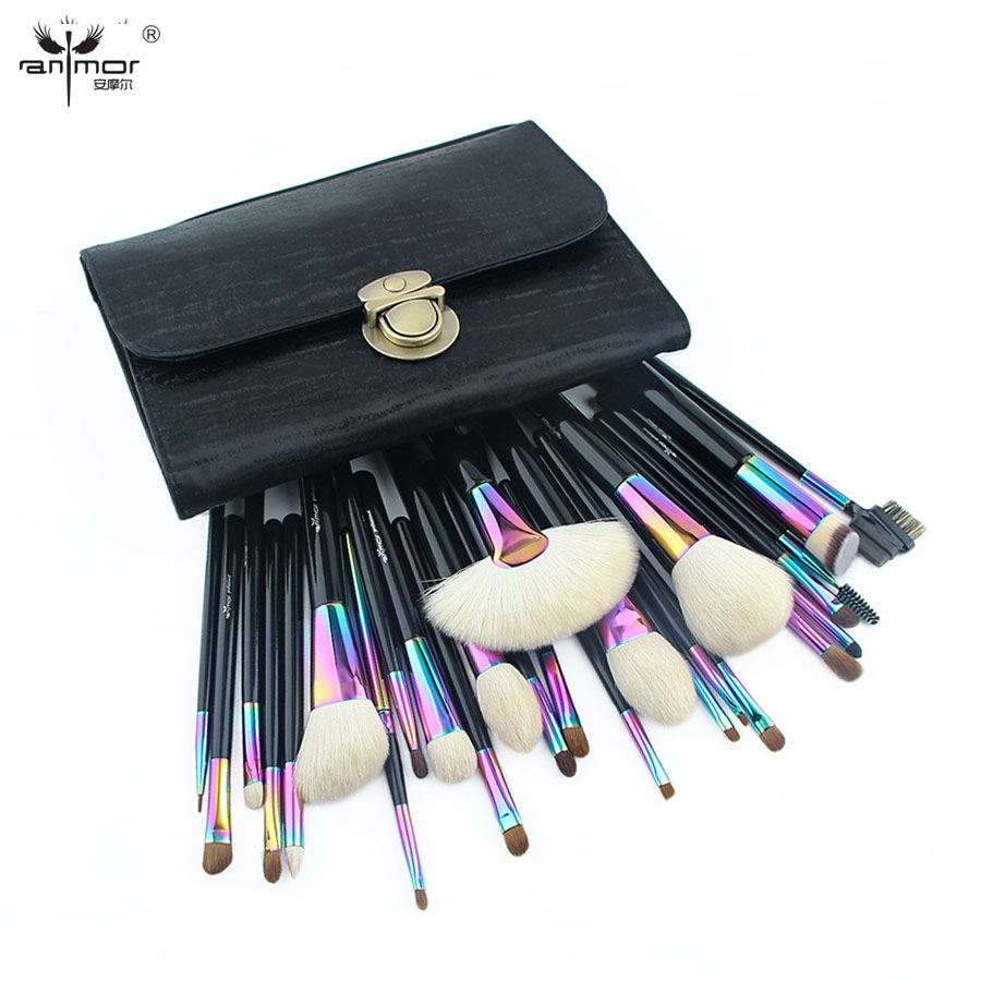 цена Anmor Large Makeup Brushes Set Gorgeous Natural Hair Make Up Tools with Black Bag CFCB-YF26 в интернет-магазинах