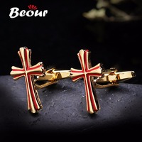 Jewelry Wholesale Cufflinks Brand Gold And Red Cross Cuff Links Wedding Gift 1288 Free Shipping